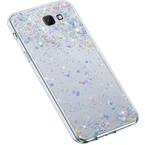 Uposao Kompatibel mit Samsung Galaxy J4 Plus 2018 Hülle Glänzend Bling Glitzer Sterne Pailletten Diamant Transparent TPU Silikon Handyhülle Ultra Dünn Durchsichtige Bumper Case Tasche,Blau Lila