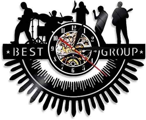 ZZLLL Vinilo Reloj de Pared Banda Silueta Rock Arte de Pared Rock Heavy Metal Música Banda Reloj de Pared Drum Melody Concierto Actuación en Vivo CD Disco de Vinilo Reloj de Pared
