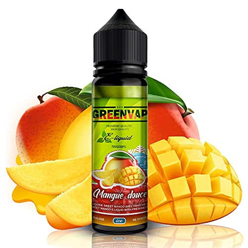 E-liquid MANGO dulce con frescor de GreenVap | 50ML TPD | Sin Nicotina – E-Líquido Premium para Cigarrillos Electronicos | E Liquidos para Vaper