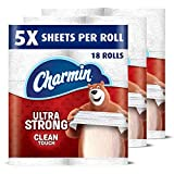Charmin Ultra Strong Clean Touch Toilet Paper, Family Mega Rolls, 18 Count (Packaging May Vary)