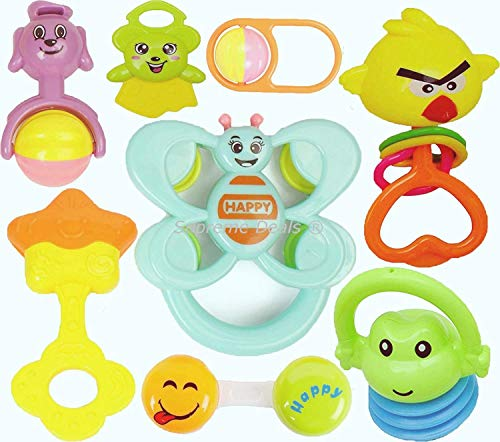 Supreme Deals® Non Toxic Multi Colored Baby Rattle & Teether Toys for Kids, Set of 8 Pcs - Colourful Lovely Attractive Rattles for Babies, Toddlers, Infants & Children (Pack of 7 Rattles & 1 Teether)