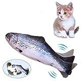 Lacyie Pez Juguete Gato,Juguetes con Hierba Gatera USB Recargable para Pez Simulación Realista Mascotas Gato Juguete Interactivo de Felpa Pez para...
