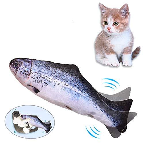 Lacyie Pez Juguete Gato,Juguetes con Hierba Gatera USB Recargable para Pez Simulación Realista Mascotas Gato Juguete Interactivo de Felpa Pez para morder, Masticar, patear y Dormir