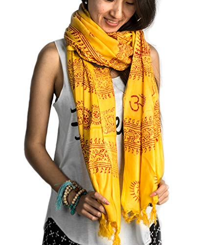 Large Om Scarf Wrap Yoga Soft Cotton Mix Hand Printed Mantra Prayer Boho Bohemian Yoga Yellow White Black & Blue (Yellow)
