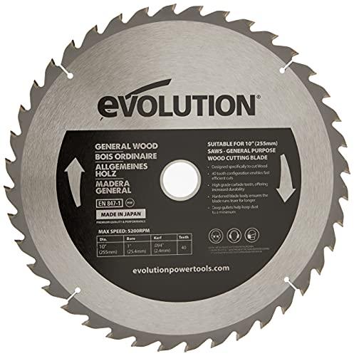 Evolution Power Tools – construire Rageblade255wood Evolution 255 mm Bois Tête en carbure Lame, 0 V, Multi, 255 mm