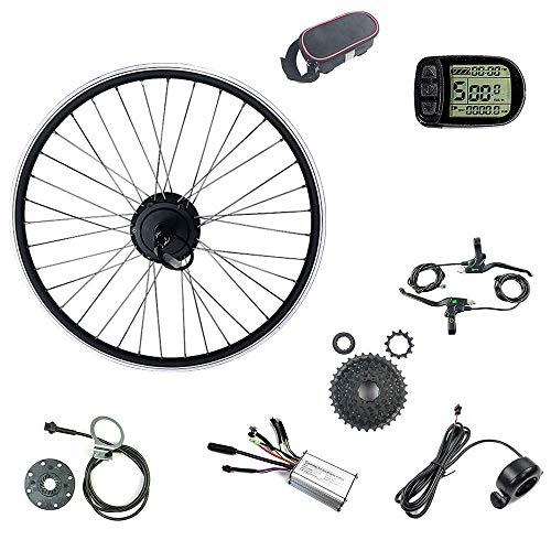 Schuck Cubo de Rueda de Bicicleta eléctrica con Motor de Engranaje sin escobillas 36 V 250 W 700 C Rueda Trasera Cassette Rueda Kit de Motor de conversión de Bicicleta eléctrica y Pantalla KT LCD5