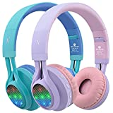 Riwbox WT-7S Kids Headphones Wireless, Bundle 2 Packs Foldable Stereo Bluetooth Headset with Mic and Volume Control for PC/Laptop/Tablet/iPad (Purple&Blue)