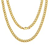 Men Curb Chain Necklace Gold Plated Jewelry Gift 5mm 22inch Fake Gold Necklace Boys