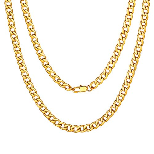 Mens Chain Gold Plated Necklace 5MM 20 inch Simple Chain Neck