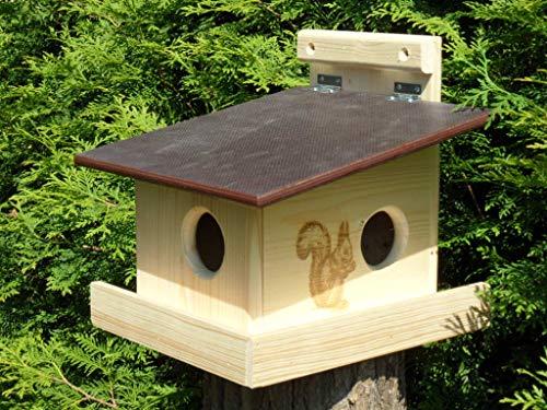 XXXL Echhörnchen Kobel/Futterhaus aus hochwertigem Vollholz, deutsches Qualitätsprodukt,von Hand gefertigt im Bayerischen Wald (Eichhörnchenkobel naturbelassen)
