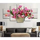 WJFWLH 5 Tulipe Bouquet Fleur Peinture Enfants Chambre Décoration Imprimer Affiche Image Toile Mur Photo Décoration