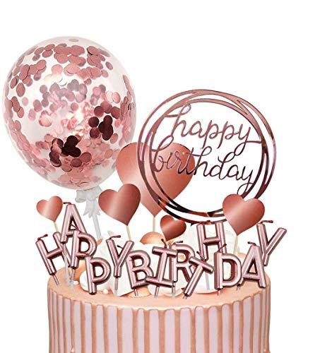 Humairc Rosegold Tortendeko Geburstagstorte Deko Happy Birthday Kerzen Rosa Gold Konfetti Ballon Cake Topper Herze Picks für Mädchen Frauen