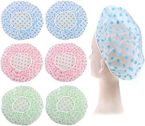 GIYOMI Shower Cap for Women  6 Pieces Reusable Waterproof EVA Plastic Elastic Band Flower Printed Hat Environmental Protection Hair Bath Caps Shower Caps