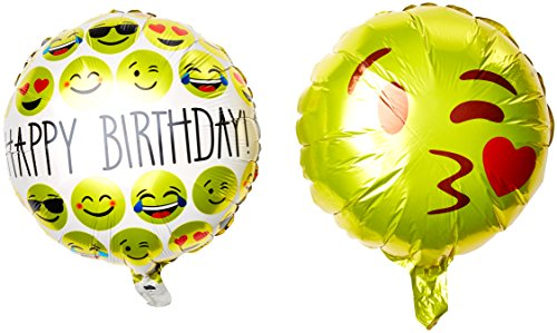 Ivenf 18' Mylar Reusable Emoji Funny Faces Happy Birthday Party Balloons Party Supplies, 10 Pack Set