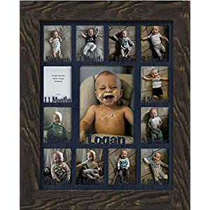 Northland Baby First Year Personalized Frame – Holds Twelve 2.5″ x 3.5″ Newborn Nursery Decor Photos and 5″ x 7″ One Year Picture, Barnwood Espresso Frame, Navy Mat, Customizable with Any Name
