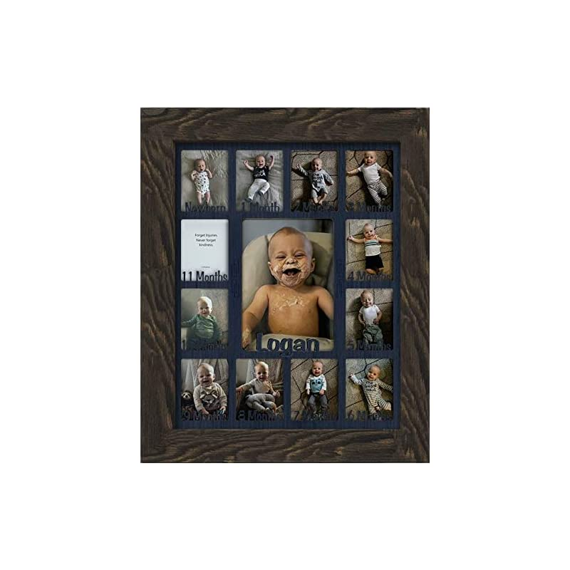 """crib bedding and baby bedding northland baby first year personalized frame - holds twelve 2.5"""" x 3.5"""" newborn nursery decor photos and 5"""" x 7"""" one year picture, barnwood espresso frame, navy mat, customizable with any name"""