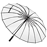 ADRIANO PORCARO® - XXL Automatik Regenschirm - windsicher Stockschirm - 16 Fach Verstrebung - groß stabil & windresistent sturmfest - 105cm Ø (Transparent)