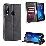 fancartuk Kompatibel mit HTC Desire 19 Plus Hülle Leder, PU Brieftasche etui Schutzhülle Tasche Slim Flip Hülle Cover mit Magnetverschluss für HTC Desire 19 Plus (Schwarz)