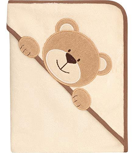 Be Mammy Kapuzenhandtuch Babyhandtuch aus Baumwolle Oeko-Tex Standard 100 100cm x 100cm BE20-240-BBL (Ecru - Bär)
