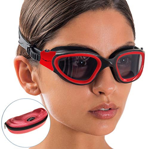 AqtivAqua Swim Goggles Swimming Goggles for Adult Men Women Kids Youth Girls Boys Childrens DX (Red/Black Color)