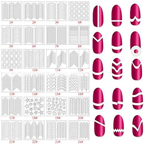 24 Blatt Nail Art Sticker, Maniküre-Werkzeug Nail Art Schablonen French Tip Guides Aufkleber Form Fringe Guides Vinyl