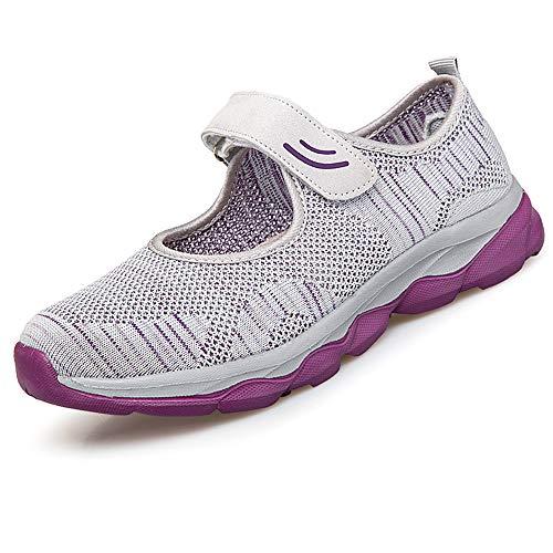 [BaHar] ナースシューズ レディース 安全靴 婦人靴 カジュアルシューズ ウォーキングシューズ 厚底スニーカー 大きいサイズ マジックテープ 看護師 超軽量 通気 歩きやすい 履きやすい 病院22.5cm-26.0cm (グレーC, measurem
