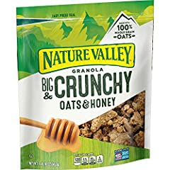 GRANOLA: Nature Valley crunchy granola is made with whole grain oats and sweet honey flavor. REAL INGREDIENTS: Hearty whole grain oats with no artificial flavors artificial colors, or high fructose corn syrup. WHOLE GRAIN: An excellent source of whol...