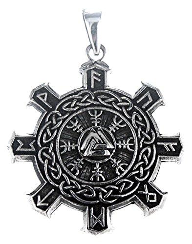 Kiss of Leather Nodos Wotan Brújula vikinga colgante de plata de ley 925 n.º 287