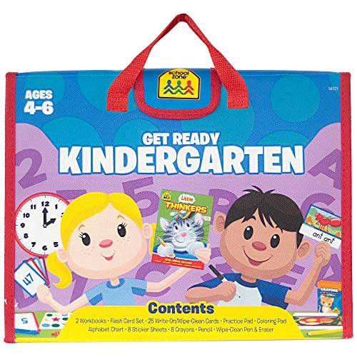 School Zone - Get Ready Kindergarten Learning Playset - Ages 4-6, Workbooks, Flash Cards, Write & Reuse, Alphabet, Numbers 1-50, Sight Words, Stickers, Carrying Case, Pencil & Wipe-Clean Marker