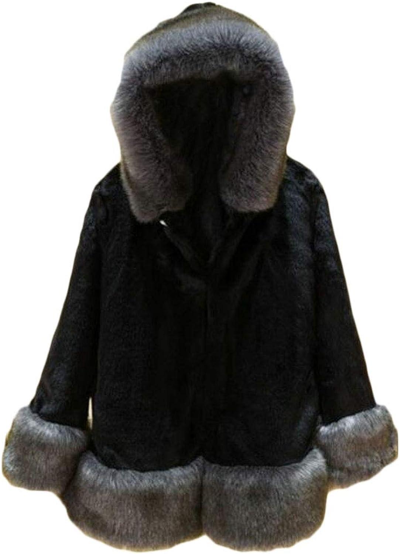 VOGMEM Women Hoodie Coat Warm Winter Outwear Thick Faux Fur Parka Jacket
