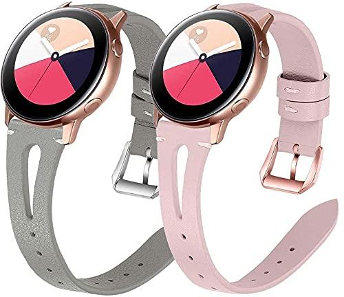 Classicase Piel Correa de Reloj Compatible con Galaxy Watch Active/Active 2 / Active 3 / Watch 42mm, Correa/Banda/Pulsera/Recambio/Reemplazo/Strap de Reloj (20mm, Pattern 2+Pattern 6)