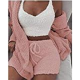 Pyjama Femme Hiver,Polaire Pyjama 3 Pcs Filles Corail Velours Pyjamas Ensemble Printemps Automne...