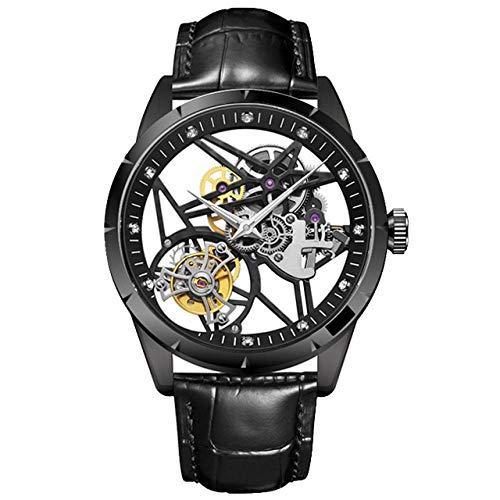 SHOUTAOB Hombres mecánica s Relojes Esqueleto de Lujo de la Marca del Reloj del Deporte de los Hombres de Moda a Prueba de Agua Reloj de los Hombres RZTZDM (Color : A)