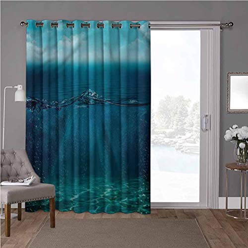YUAZHOQI Cortina divisora de privacidad con aislamiento térmico, cortinas opacas, aguamarina, rayos solares subacuáticos, burbujas de 100 x 108 pulgadas de ancho x 108 pulgadas de largo (1 panel)