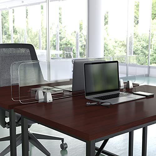 Flash Furniture Clear Desktop Clamp On Acrylic Sneeze Guard Plastic Panel Desk Divider Partition Shield for Offices, Schools and Libraries