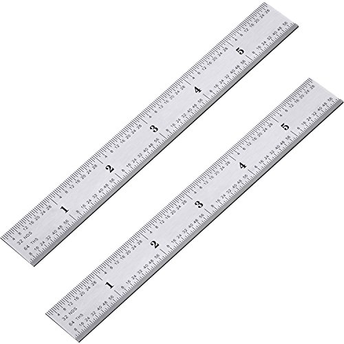 eBoot 2 Pack Stainless Steel Ruler Machinist Engineer Ruler, Metric Ruler with Markings 1/8, 1/16, 1/32, 1/64 Inch for Engineering, School, Office, Architect, and Drawing (6 Inch)