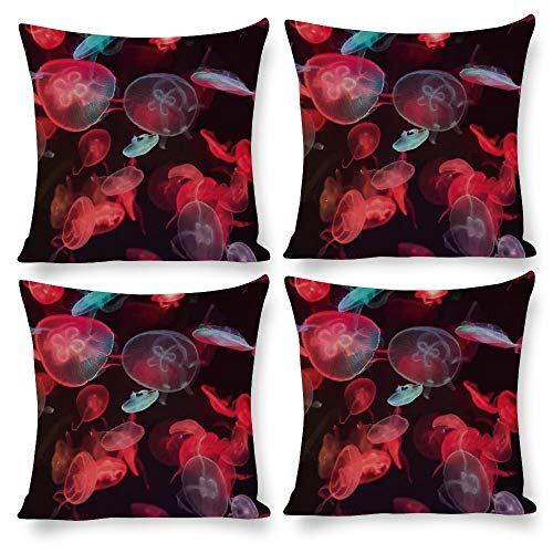 No branded Pillow Covers 18X18 Set of 4, Abstract Minimalist Watercolor Prints Nature Animal Scenery Jellyfish Red, Decorative Square Pillow Cushion Pillowcase for Nursery Patio Yard Decal