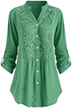 Snowlike Womens Plus Size Button Shirt V Neck Lace Casual Loose Tops Ladies Solid Color Long Sleeve Fashion Blouse