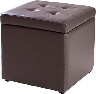 NMDD Cube Faux Cuir Tabouret de Rangement Pouf Banc, Coffre à Jouets avec charnière Dessus Organisateur boîte Pouf Poitrin...