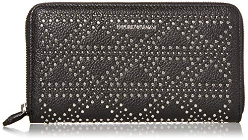 Emporio Armani Designer-Geldbörse aus Leder mit Reißverschluss, Schwarz (schwarz), Einheitsgröße