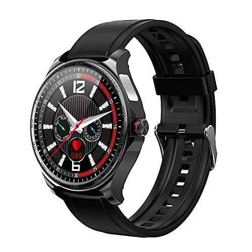 LZXMXR Smart Watch, Círculo Completo Pantalla táctil Completa Llame a Pulsera Inteligente, IP67 Pedómetro de Salud de cáscara de Metal Impermeable (Color : Black Rubber)