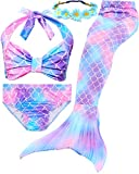 Garlagy 3 Pcs Girls Swimsuit Mermaid Costume Gifts Swimming Bikini Set for 3-14Y