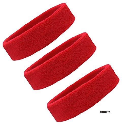 Kenz Laurenz Red Sweatbands Headbands - 3 Pack for Men Women Kids Elastic Headband Sports Sweat Bands Athletic Head Band for Workout Running Basketball Moisture Wicking Terry Cloth
