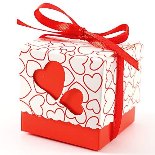 Surepromise 100 Stück Geschenkschachtel Schmuck Klein Geschenkbox Gastgeschenke Schachtel 5x5x5cm mit Rot Herzen und Band für Hochzeit Geburtstag Party Taufe