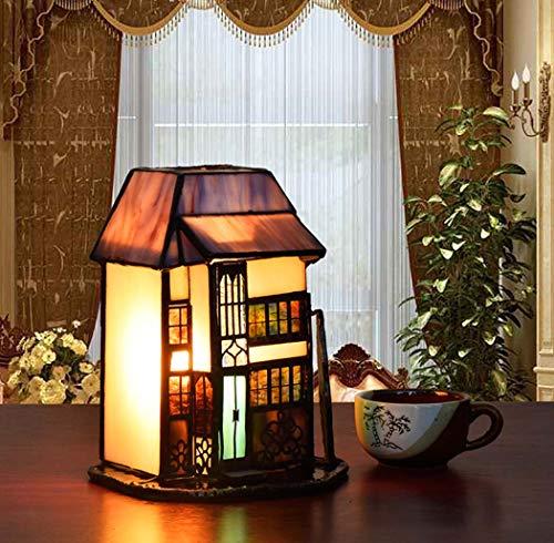 Yjmgrowing klein huisje accent tafellamp Tiffany stijl glazen schilderij nachtlampje voor slaapkamer 's nachts decoratieve accentverlichting, E14 / E12,110-220V