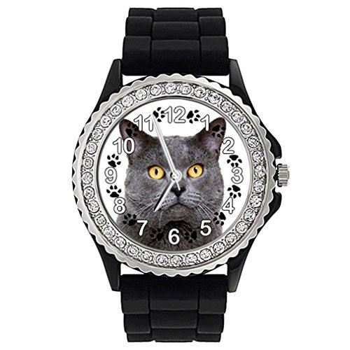 Timest - Chartreux Gato Reloj de Silicona Negro para Mujer con piedrecillas Analógico Cuarzo SG1806