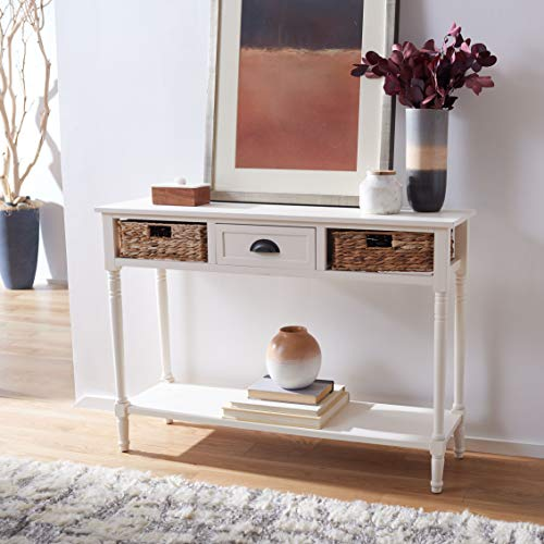 Safavieh Home Collection Christa Distressed White 3-Drawer Storage Console Table