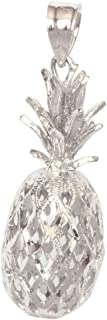14K Solid White Gold Hawaiian 3D Pineapple Necklace Pendant