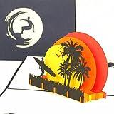 Pop Up Karte'Surfer Sunset Beach' - 3D Geburtstagskarte, Einladungskarte Urlaub, Reisegutschein zum Surfen, Florida als Geschenk, Geschenkverpackung Surfbrett & Einladung zum Surf Kurs mit Surfboard