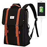 Teimose R207 Laptop Bag 17inch Casual Unisex Waterproof Oxford School Backpack Rucksack (17INCH, BLACK)
